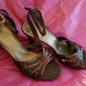 Brown strappy satin/sequin pumps